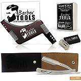 ✮ Barber Tools ✮ Rasiermesser mit austauschbarer Klingen. Mit 5 Rasierklingen und eine Aufbewahrungstasche + Bartschablone + Alaunstein 100% natürlich – 100g – mit Aufbewahrungsbox