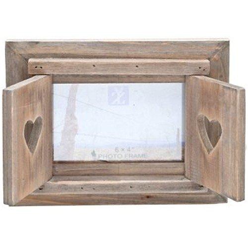 Sunshine Retail - Marco de fotos (madera, 10 x 15 cm), diseño rústico de ventana con corazones en los postigos