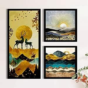 Painting Mantra Landscape & Deer Framed Forest Art Prints Painting/Posters - Set of 3 Black Frame (1 Units 22 x 47 cm, 2 Units 22 x 22 cm, Multicolor )