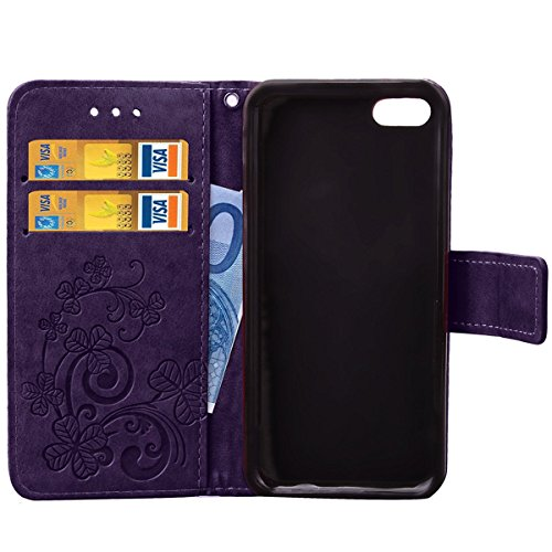 iPhone 5S Hülle Case,iPhone SE Hülle Case,Gift_Source [Rose] [Card Slot] [Kickstand Feature] [Wrist Strap] Magnetic Closure PU Leder Brieftasche Hülle Case Embossed Blumes design Flip Hülle Case Cover E01-05-Purple