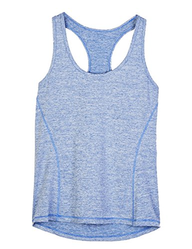 icyzone® Damen Funktions-Tanktop Sporttop Unterhemd Stretch fuer Yoga Fittness training Damen Tanktop Racerback ,Blue Heather,XL