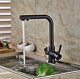 TougMoo Neue schwarze oder Goldene reines Wasser Küche Wasserhahn 3 doppelte Funktion Filler Lite 3-Wege Hahn für Wasser Filter, Schwarz