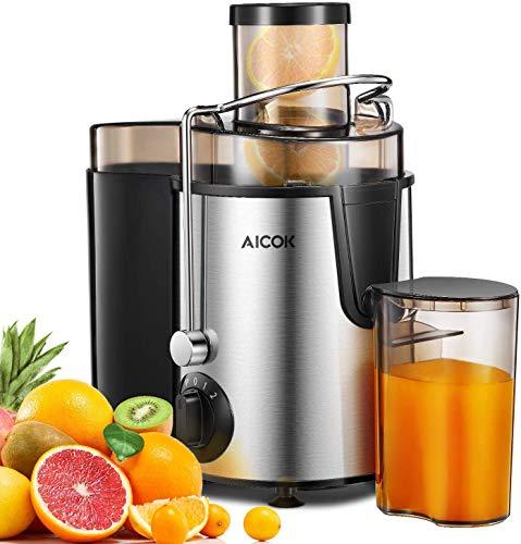 Entsafter für Obst und Gemüse in Edelstahl, Zentrifugaler Entsafter mit Überhitzungsschutz, inkl. Reinigungsbürste und Saftbehälter, Edelstahlgehäuse - BPA frei, AICOK
