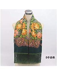 ZXXWJ Foulard Femme Imprimer Style Ethnique Russe Motif À Fleurs De Coton  Chaud Hiver Tassel Couverture 67066a9d6c0
