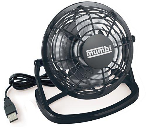 mumbi USB Ventilator, Mini Fan für den Schreibtisch mit Ein/Aus-Schalter, schwarz -