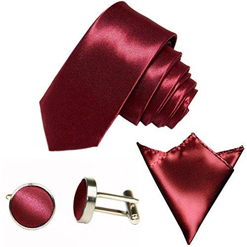 GASSANI 3-SET schmale 6cm Bordeaux-Rote Herrenkrawatte Binder Manschettenknöpfe Einstecktuch Satin Seide-Optik Hochzeitskrawatte