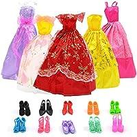 BEETEST Barbie Muñecas Fashion Accesorios Zapatos ropa Portable Set Vestido de fiesta con accesorios de decoración para la muñeca Barbie de regalo