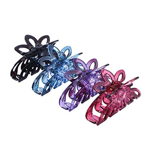 FRCOLOR 4 pcs En Plastique Grandes Griffes De Cheveux Clip Papillon Mâchoire Clip Cheveux Pince pour les Femmes (Couleur Mixte)