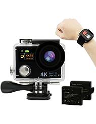 Hieha® 4K Full HD WiFi Duale Bildschirme 1080P 12MP 2 Zoll 170° Weitwinkel-Objektiv Wasserdichte Mini DV Actioncam Sports Camera Camcorder mit Fernbedienung und zwei 1050mAh Batterien Schwarz