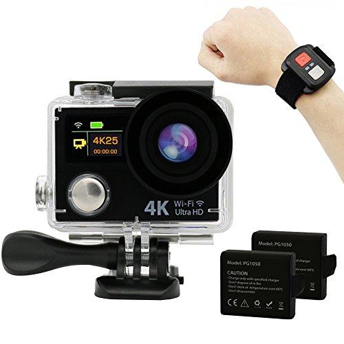 Hieha 4K Full HD WiFi Duale Bildschirme 1080P 12MP 2 Zoll 170° Weitwinkel-Objektiv Wasserdichte Mini DV Actioncam Sports Camera Camcorder mit Fernbedienung und zwei 1050mAh Batterien Schwarz