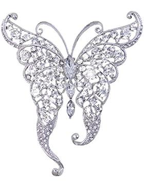 EVER FAITH® Elegant Silber-Ton Schmetterling Braut Brosche klar österreichische Kristall A02265-19