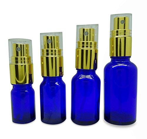 beaucoup de verre bleu atomiseur bouteille réutilisable vaporisateurs de parfum de l'huile essentielle de cobalt 50 vide gros boston round 10 ml flacon de parfum