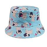 Photo de LQMGLP Chien De Bouledogue Bleu Ciel Mignon Imprimé Chapeaux De Seau Femmes Chapeaux De Pêcheur D'Été par LQMGLP