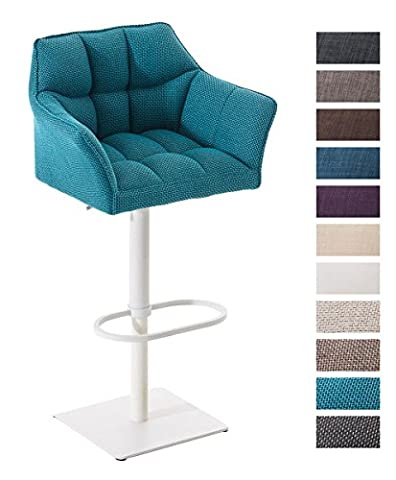 CLP Bar stool with backrest DAMASO W, fabric cover, white metal frame, swivel function, height adjustable turquoise