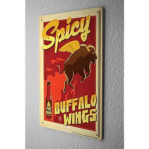 Divertimento Cartello Targa In Metallo Decorazione Della Parete Hot Sauce Buffalo Ala Piastra Insegna Metallica 20X30 cm