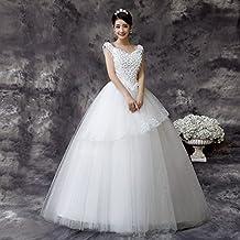 QP Vestido de Novia Slim Blanco V-cuello de Flores de Encaje Pieza de la