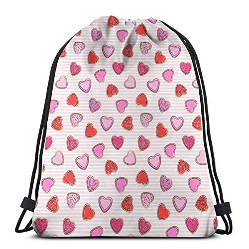 (12 Skala) Herz Zucker Kekse - Valentines - Pink Stripe C18BS_507 Drawstring Rucksack Rucksack...