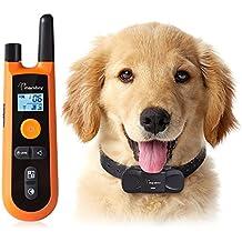 Collar Adiestramiento para Perros, o Mascotas con Modos de Vibración y Sonidos, Collar Control Remoto Antiladridos impermeable viene con manual en español color naranja y negro - TC02