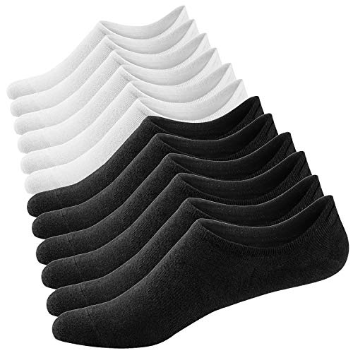 Ueither Damen Unsichtbare Sneaker Socken Baumwoll Kurzsocken Sport Socken für Loafers Boots Schuhe mit Rutschfest Silikon (Schuhgröße:36-43, Farbe 6)