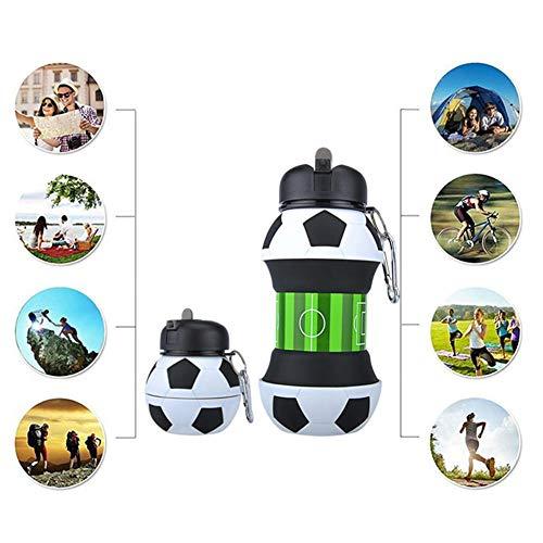 ltbare Fußball Wasserflasche Krug Auslaufsicher Silikon BPA Frei, Entzückende Kinder Geschenk Spaß Cool Ports Wasserflasche für Kinder Camping Radfahren Sport ()