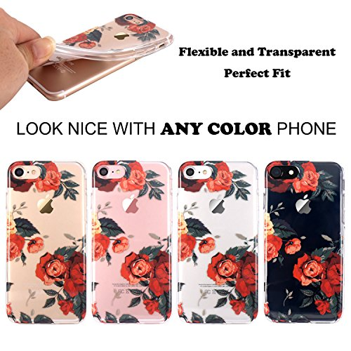 iPhone 7 Hülle, JIAXIUFEN TPU Silikon Schutz Handy Hülle Handytasche HandyHülle Etui Schale Schutzhülle Case Cover für Apple iPhone 7 / iPhone 8 - Rose Flower Flower Red Rose