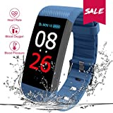 Fitness Armbanduhr, CHEREEKI Fitness Tracker Smartwatch Wasserdicht IP67 Aktivitätstracker Schrittzähler Armbanduhr Schlafanalyse Kalorienzähler Anruf/ SMS Kompatibel Aktivitätstracker Bluetooth mit iPhone und Android (Blau)