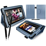 """iTALKonline PADWEAR BLUE CARBON FIBRE Multi Function Multi Angle Luxury Executive PU Leather Wallet Horizontal Stand Cover Typing With Case Professional Stylus Pen For Amazon Kindle FIRE Tablet 7"""" LCD Display, Wi-Fi, 8GB"""