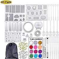 SALAMOPH Moldes de fundición y juego de herramientas, moldes de joyería que incluyen 83 piezas de moldes de silicona para hacer joyas colgantes