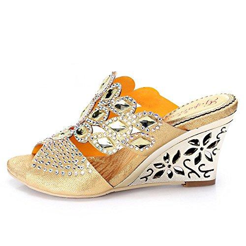 unicrystal Chaussures de Mules Diamante Party Wedge Sandales à enfiler pour femme Doré