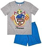 Feuerwehrmann Sam Kollektion 2017 Schlafanzug 98 104 110 116 122 128 134 140 Pyjama Fireman Sam Jungen Blau (Blau-Grau, 104/110)