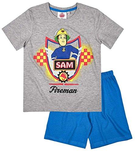 e9c317c360 Feuerwehrmann Sam Kollektion 2017 Schlafanzug 98 104 110 116 122 128 134  140 Pyjama Fireman Sam Jungen Blau (Blau-Grau, 98/104)