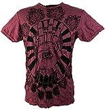 Guru-Shop Sure T-Shirt Magic Eye, Herren, Bordeaux, Baumwolle, Size:M, Bedrucktes Shirt Alternative Bekleidung