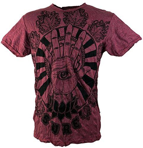 Kostüm Mann Psychedelic - Guru-Shop Sure T-Shirt Magic Eye, Herren, Bordeaux, Baumwolle, Size:M, Bedrucktes Shirt Alternative Bekleidung