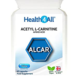 51P8tRS8PRL. SS300  - Acetyl L-Carnitine ALCAR 500mg 60 Capsules (V) Vegan. Made by Health4All