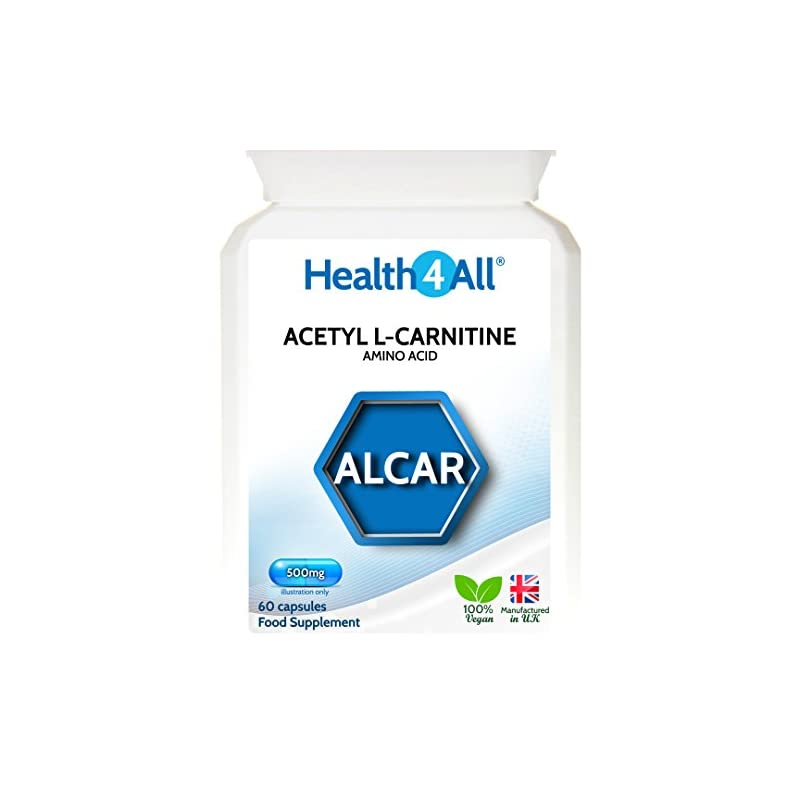 Acetyl L-Carnitine ALCAR 500mg 60 Capsules (V) . Vegan. Made in The UK by Health4All