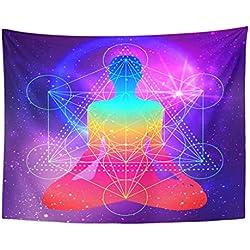 Soefipok Tapiz Mandala Decoración para el hogar Silueta Humana Meditando Haciendo Yoga Metatrones Cubo Flor de la Vida Geometría Sagrada para el Dormitorio Sala de Estar Dormitorio