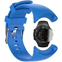 Suunto Core All Black Military Banda con protector de pantalla, TUSITA Reemplazo de pulsera de correa de silicona WristBand Accesorio para Suunto Smart Watch (AZUL)