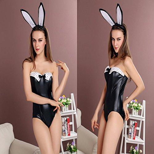 ween-Kostüme schwarz Bunny-Kostüm Korsett BH ()