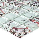 Glas Mosaik Ordabay Weiß | Wandfliesen | Mosaik-Fliesen | Glasmosaik | Fliesen-Bordüre | Ideal für die Küche und Badezimmer (auch als Muster erhältlich) (Weiß-Muster)