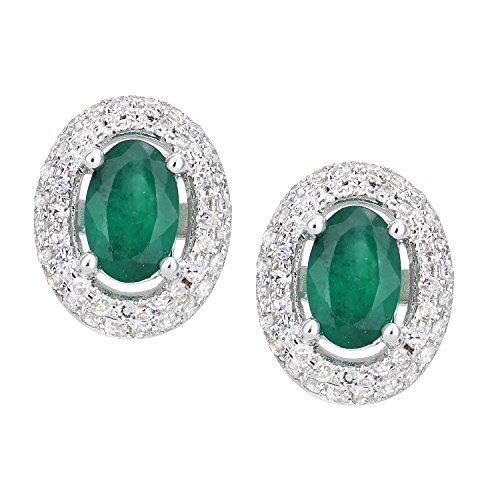 Naava Orecchini da Donna in Oro Bianco 9K con Smeraldo Verde e Diamante, Taglio Ovale