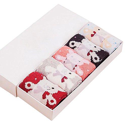 Daorier Lot de 5 paires de Modèle d'ours Chaussettes femme hiver en peluche en coton Chaussettes thermiques épaississantes