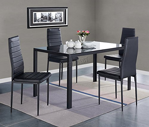 WestWood Glass Top Dining Table With 4 Chairs Faux Leather Home Dining Room Kitchen Furniture Set DS07 Black New