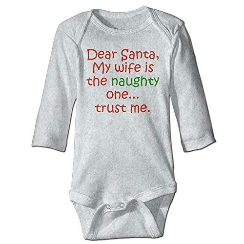MSGDF Unisex Newborn Bodysuits Dear Santa Naughty Wife Baby Babysuit Long Sleeve Jumpsuit Sunsuit Outfit Ash