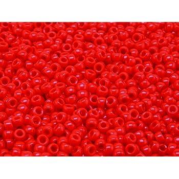 MATUBO Tschechische Glasperlen 7/0 (3,5 mm), 10gr (ca. 220 stk), Farbe: Opaque Coral Red