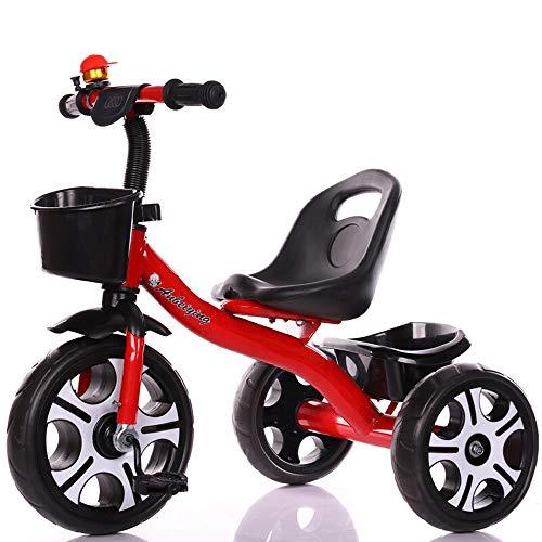 MEILA Kinder Dreirad Fahrrad 1-3-2-6 Jahre Altes Baby Fahrrad Kinderwagen Kinderwagen Pfau Blau Blau High-End Große Blume Rad Trike Einfach Clip Und Tragbar (Color : Red, Style : Big Flower Wheel)