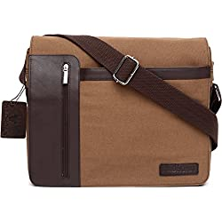 WildHorn Urban Edge Vintage Leather-Canvas Messenger Bag