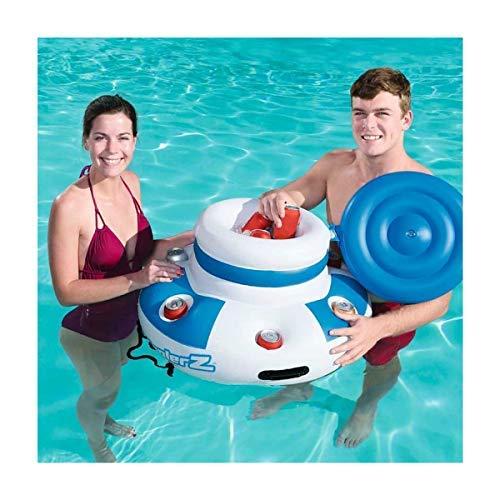 fblasbare Kühlbox für Pool oder Strand mit Getränkehalter im Lieferumfang enthalten. Größe: 70 cm inkl. Reparaturflicken ()