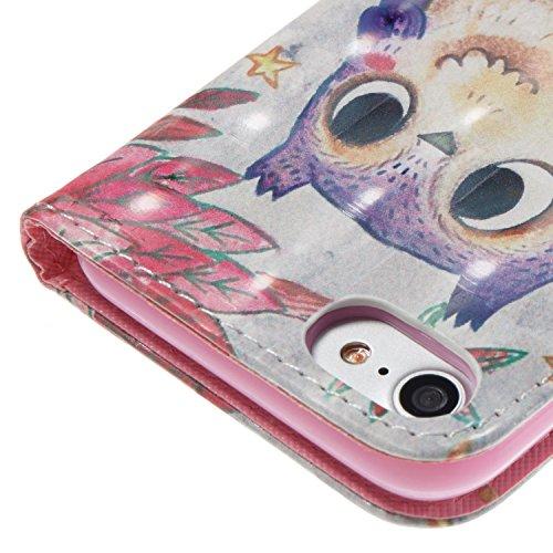 Custodia iPhone 7, Cover iPhone 7, iPhone 7 Custodia Pelle Portafoglio, JAWSEU Arts 3D Modello Libro Disegno [Shock-Absorption] PU Leather Wallet Pelle Portafoglio Custodia per Apple iPhone 7 Cover co 3D Gufo