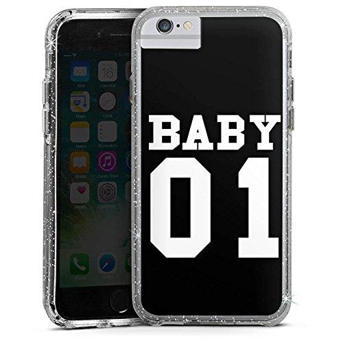 Apple iPhone 6s Plus Bumper Hülle Bumper Case Glitzer Hülle Baby Bae Paerchen Hülle Bumper Case Glitzer silber