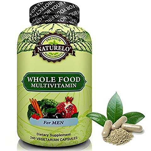 NATURELO Whole Food Multivitamin for Men - #1 Ranked - with Natural Vitamins, Minerals, Antioxidants, Organic Extracts - Vegan & Vegetarian - Best for Energy, Brain, Heart & Eye Health - 240 Capsules